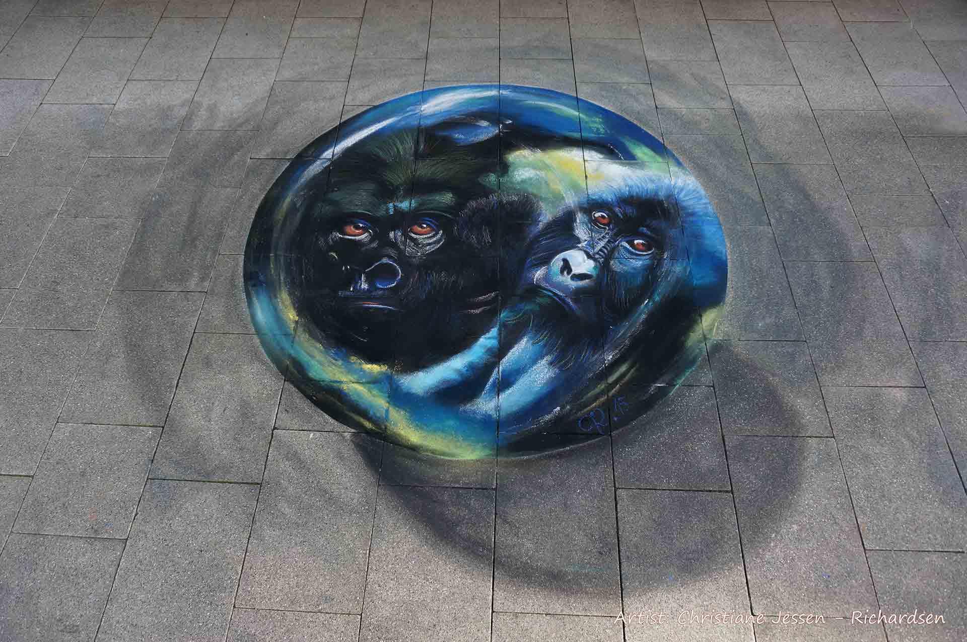 Straßenmalerei Gorilla